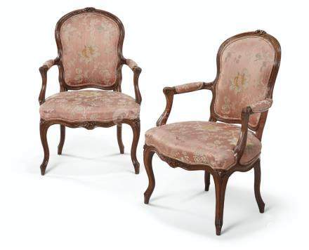 A PAIR OF LOUIS XV STAINED BEECHWOOD FAUTEUILS