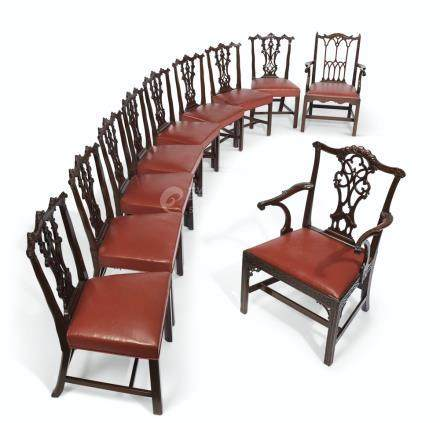 A GROUP OF EIGHT GEORGE III MAHOGANY DINING CHAIRS