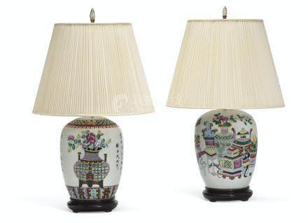 TWO CHINESE FAMILLE ROSE JARS AND COVERS, MOUNTED AS LAMPS