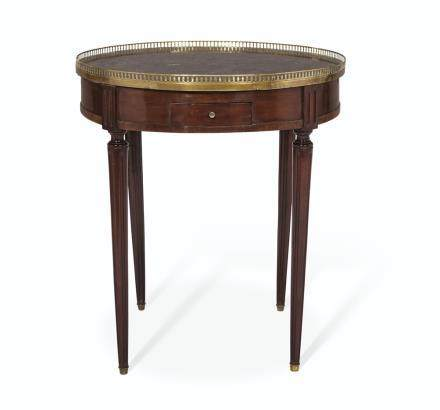 A FRENCH ORMOLU-MOUNTED MAHOGANY BOUILLOTTE TABLE