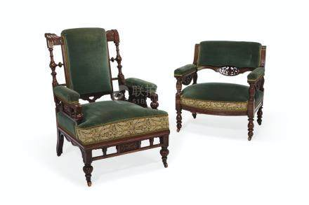 A PAIR OF AESTHETIC MOVEMENT ''HIS & HERS'' PARLOR CHAIRS