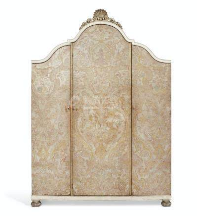 A FRENCH EMBOSSED, PAINTED AND GILT-LEATHER COVERED WARDROBE