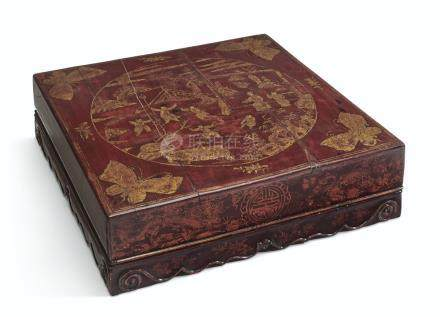 A CHINESE RED LACQUER LARGE BOX AND COVER