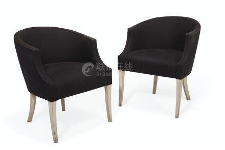 A PAIR OF CREAM-PAINTED AND UPHOLSTERED TUB-BACK CHAIRS