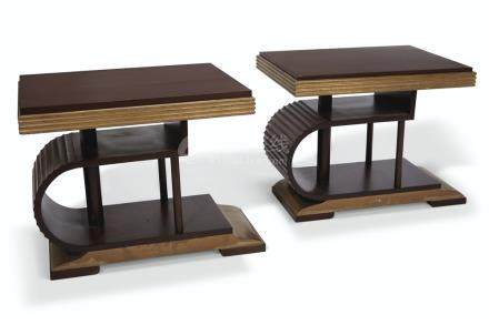 A PAIR OF ART DECO STYLE MAHOGANY AND PARCEL-GILT SIDE TABLES