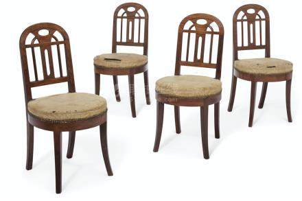 A SET OF FOUR ART DECO MAHOGANY SIDE CHAIRS