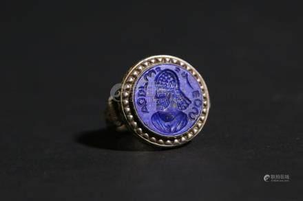 Chinese Silver and Lapis Lazuli Tibet ring