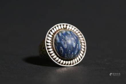 Chinese Silver and Lapis Lazuli Ring