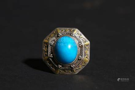 Chinese Silver and Pine Stone Tibet Ring