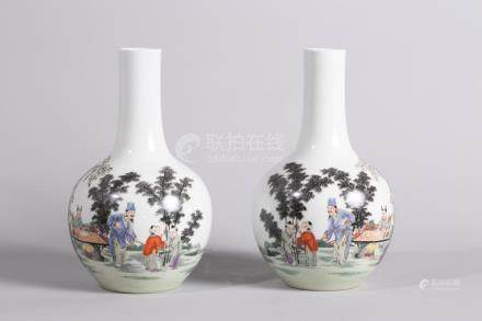 Chinese Pair of Famille Rose Porcelain Bottles
