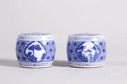 Chinese Pair of Blue and White Wax Table