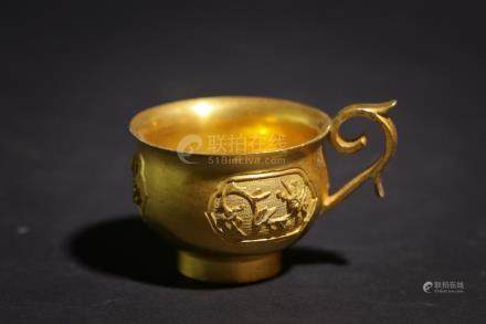 Chinese Bronze Gold Gilded Cup