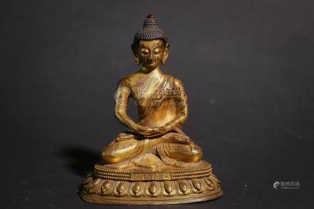 Chinese Bronze Gold Gilded Statue