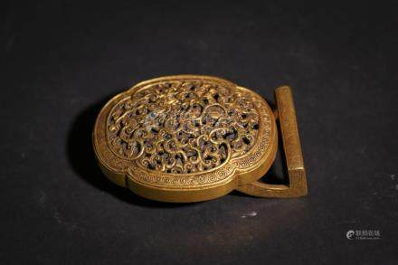 Chinese Bronze Gold Gilded Belt Buckle