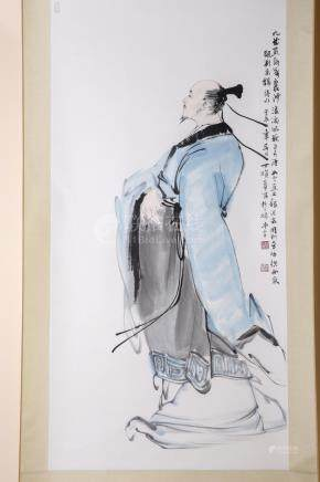 "Chinese Liu Yuxi's Ink Painting and Calligraphy ""Langtao Sha"