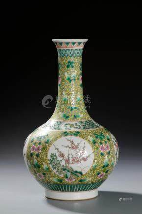 Chinese Yellow-Ground Famille Rose Bottle Vase