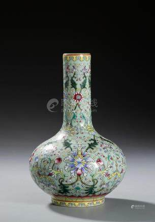 Chinese Lime-Ground Famille Rose Vase