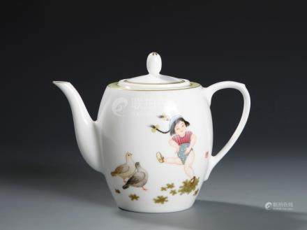 Chinese Famille Rose Teapot, Zhang Song Mao