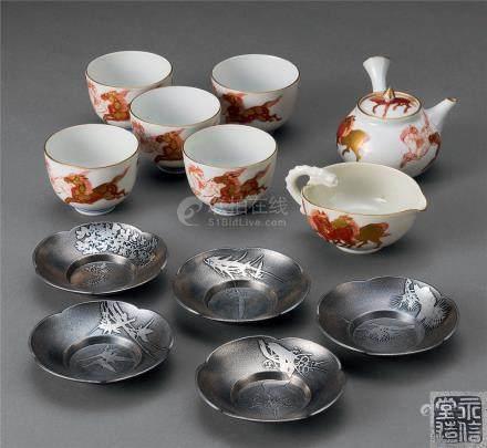 秋塘造 彩绘金彩茶具 (一套)