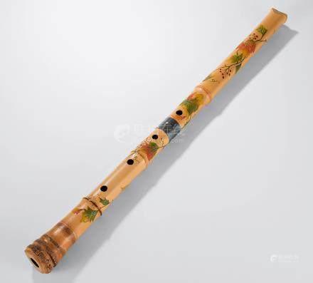 竹应作 花卉竹雕尺八