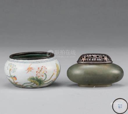 清、清 玉制水盂 铜胎珐琅彩荷池清趣水盂 (两件)