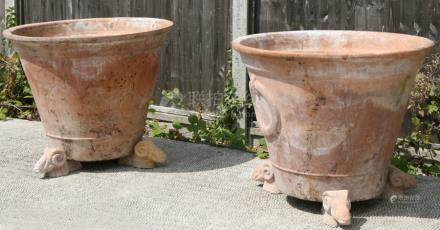 A large pair of terracotta plant pots standing on three rams head feet, 81cms (32ins) diameter.