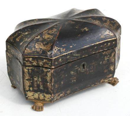 A 19th century Chinese lacquer two-division tea caddy decorated with gilded figures on a black