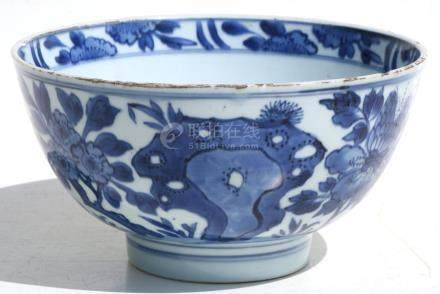 A Chinese blue & white vase decorated with flowers and birds, six-character Kangxi mark to