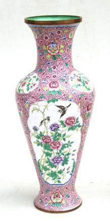 A Chinese Canton enamel vase decorated with birds and flowers on a pink ground, 39cms (15.25ins)