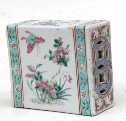 A 19th century Chinese famille rose flower brick decorated with flowers and butterflies, 13cms (