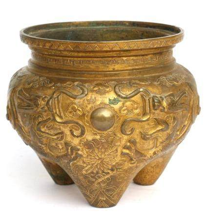A Chinese gilt bronze tripod censer, 14cms (5.5ins) high.Condition Report Missing handles