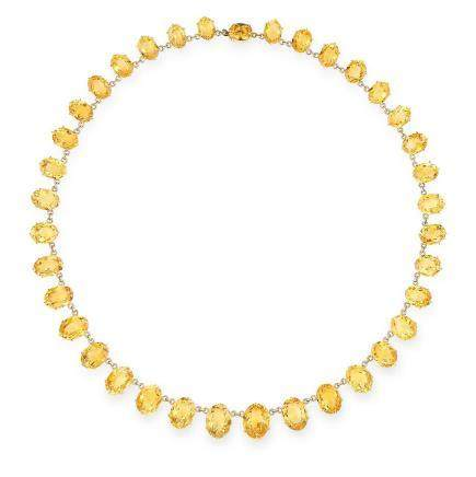 ANTIQUE CITRINE RIVIERA NECKLACE in yellow gold, formed