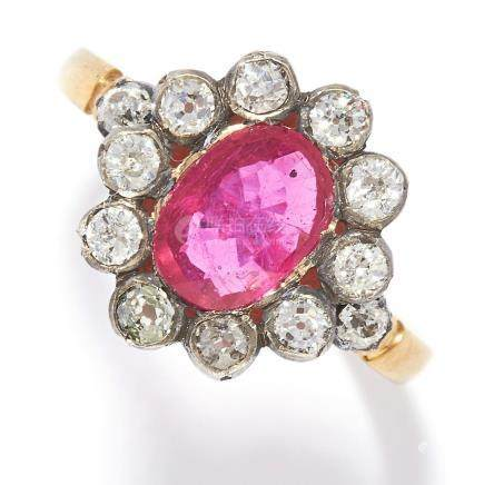 RUBY AND DIAMOND CLUSTER RING in yellow gold, set with