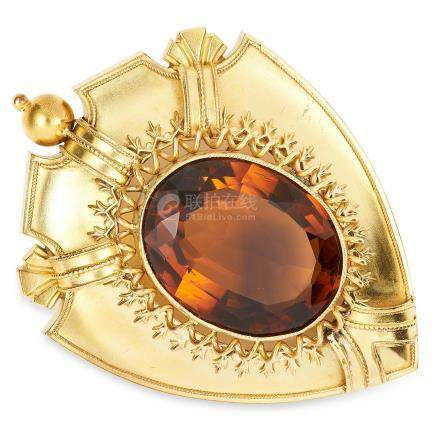 ANTIQUE VICTORIAN CITRINE BROOCH in high carat yellow