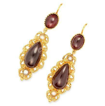 ANTIQUE VICTORIAN GARNET AND PEARL EARRINGS in high