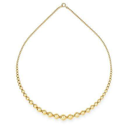 GOLD BEAD NECKLACE in 18ct yellow gold, formed of