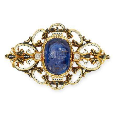 ANTIQUE VICTORIAN CARVED SAPPHIRE INTAGLIO, DIAMOND AND