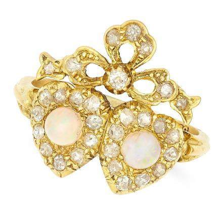 OPAL AND DIAMOND SWEETHEART RING in 18ct yellow gold,