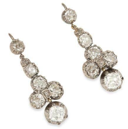 ANTIQUE 5.00 CARAT DIAMOND DROP EARRINGS in white gold