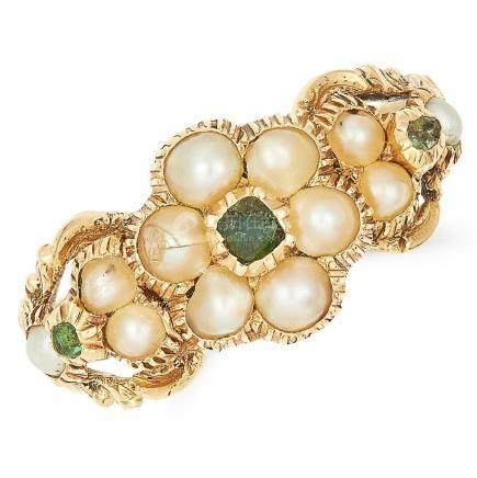 ANTIQUE VICTORIAN PEARL AND EMERALD RING in high carat