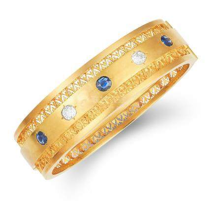 ANTIQUE VICTORIAN SAPPHIRE AND DIAMOND BANGLE in high