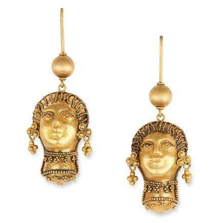 ANTIQUE ETRUSCAN REVIVAL EARRINGS in high carat yellow