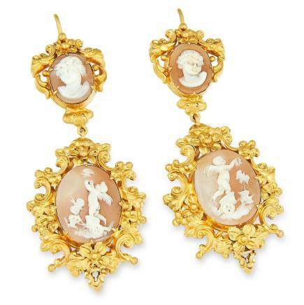 ANTIQUE VICTORIAN CAMEO EARRINGS in high carat yellow