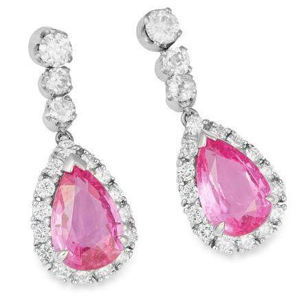 4.20 CARAT PINK SAPPHIRE AND DIAMOND EARRINGS in 18ct