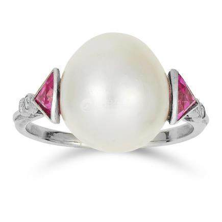 NATURAL SALTWATER PEARL, RUBY AND DIAMOND RING in 18ct