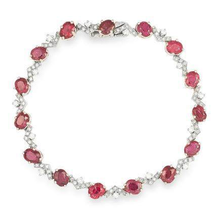 10.50 CARAT UNHEATED RUBY AND DIAMOND BRACELET in 18ct