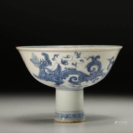 CHINESE BLUE WHITE DRAGON STEM BOWL