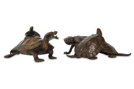 TWO JAPANESE BRONZE OKIMONO OF TURTLES.