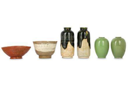 TWO TEA-BOWLS, CHAWAN AND VASES.