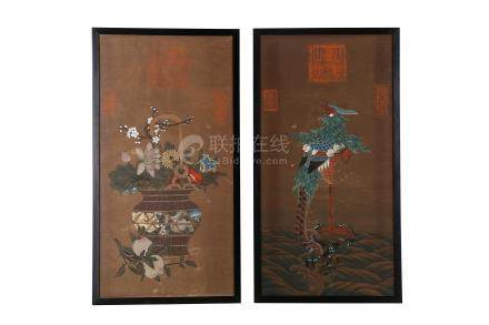 A PAIR OF JAPANESE FRAMED PAINTINGS.